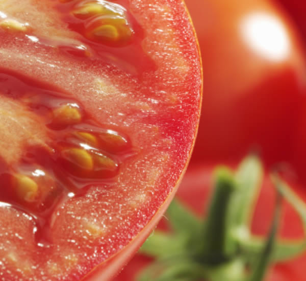 Close up image of the inside of a tomatoe