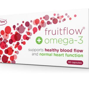 Fruitflow+ and Omega-3 product packaging