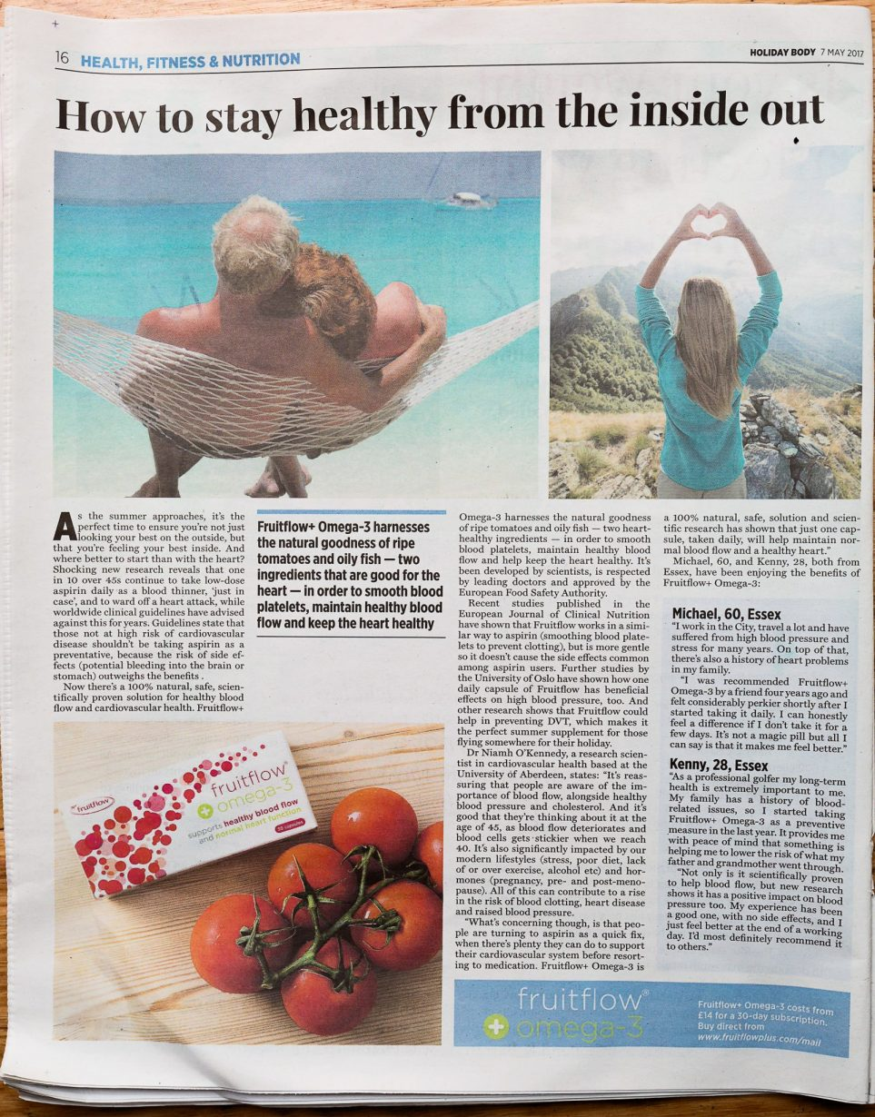 Article showing how Fruitflow+ smooths blood platelets to maintain healthy blood flow and support heart health