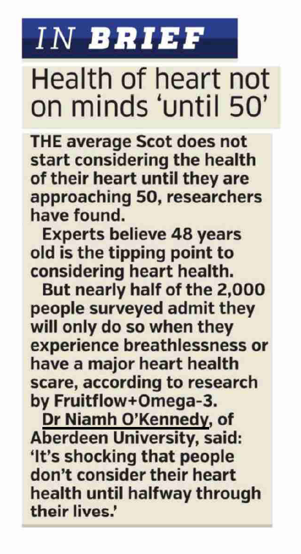 Article featuring fact that Scots do not consider heart health until they approach 50